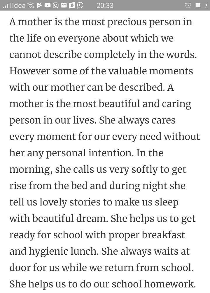 Essay about the mother