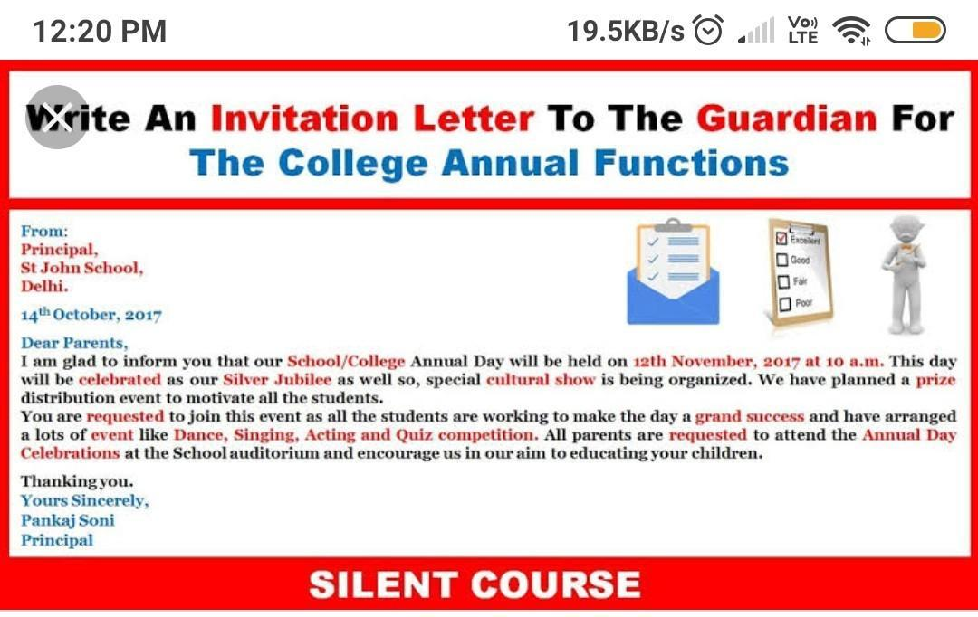 College annual function invitation letter - Brainly in