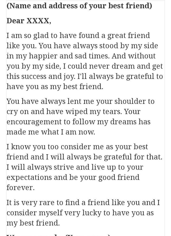 write a letter to my best friend