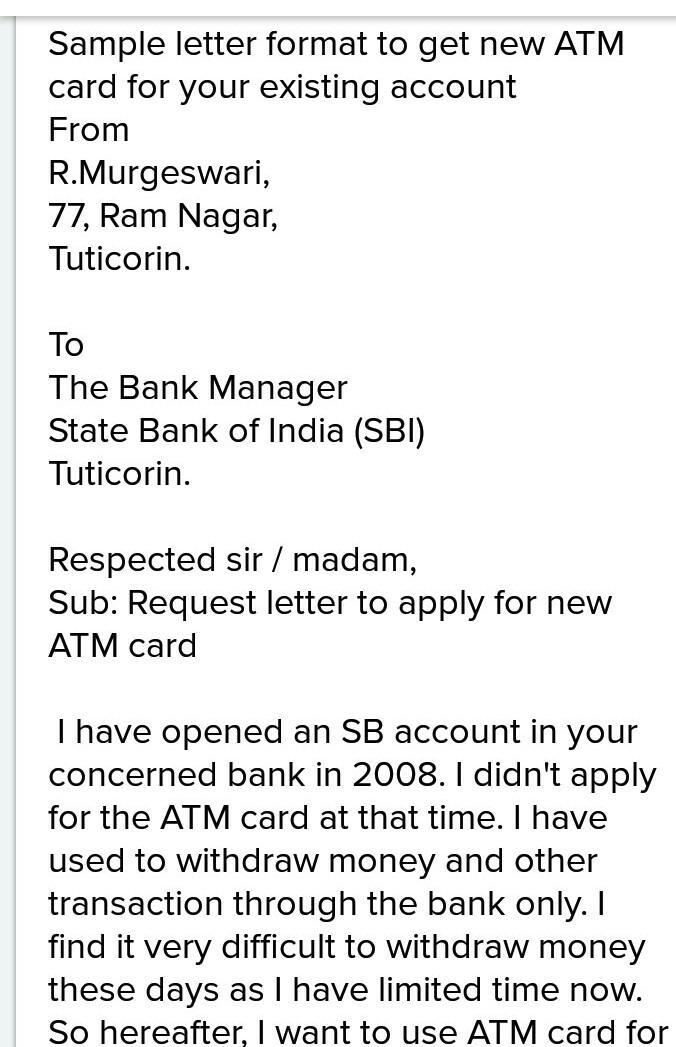 how to write a letter to bank manager for atm card damaged
