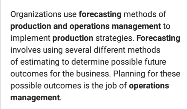forecasting in production and operation management