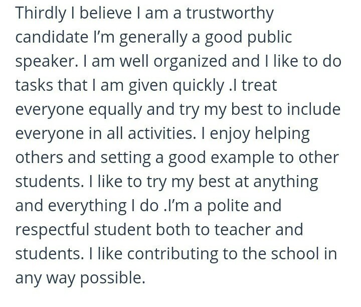 prepare a welcome speech by imagining you as the school