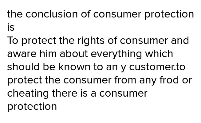 conclusion of consumer protection