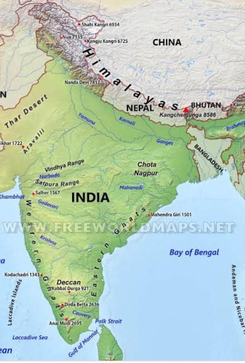 Picture of: Show The Mountains And Rivers On The Map Of India Brainly In