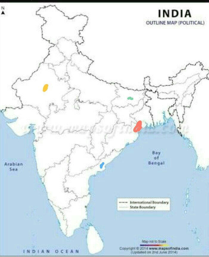 On the political map of India locate (a) Chhotanagpur