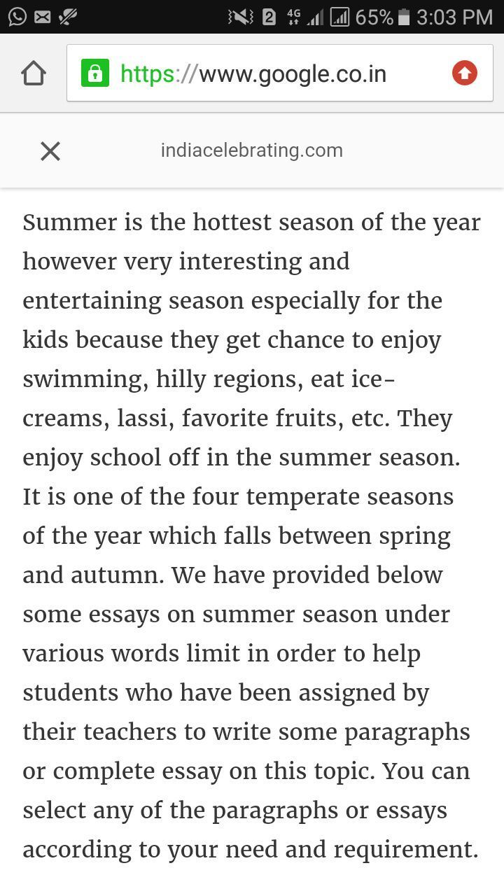 Write about summer season