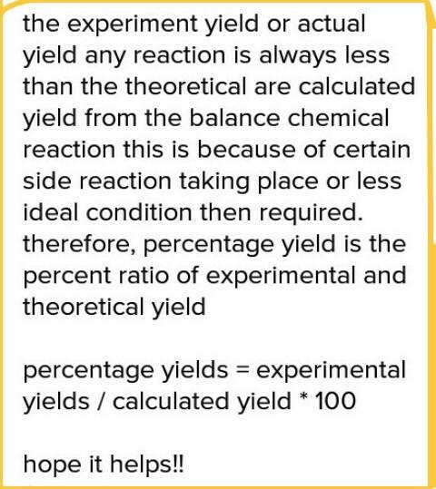 What is percentage yield ? - Brainly in