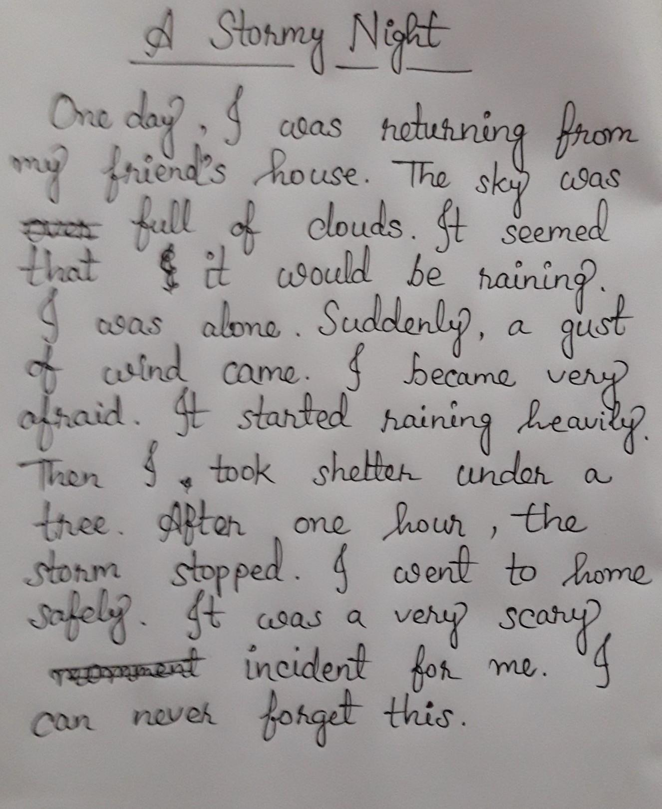 a stormy night descriptive essay