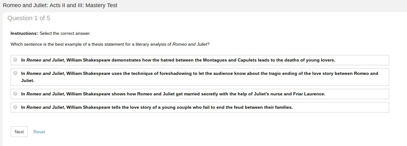 Romeo and Juliet thesis: Brief summary of the work