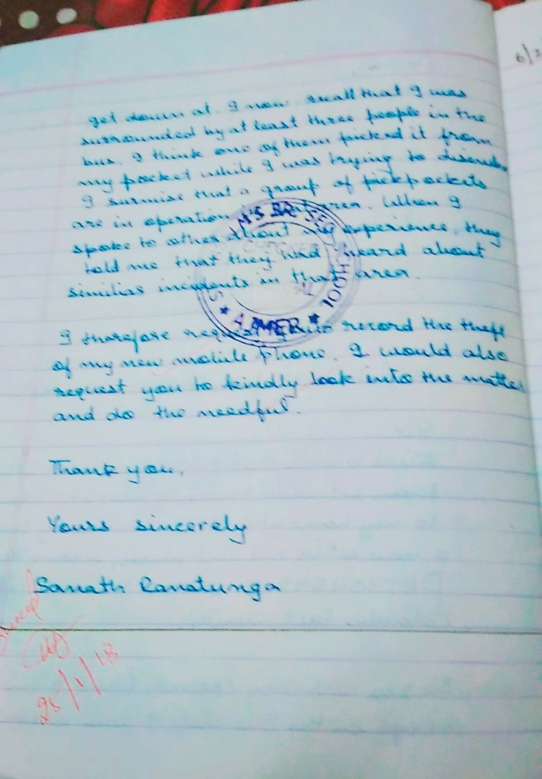 write a letter to the police inspector -in -charge of your