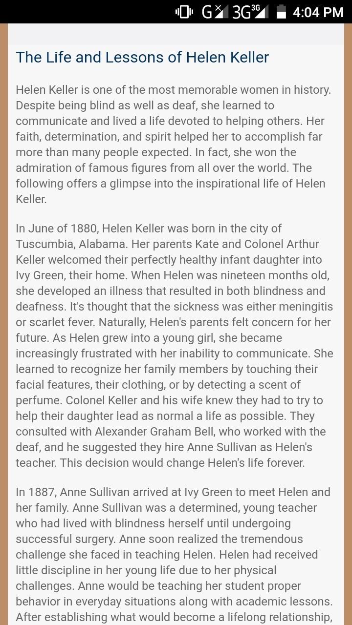 helen keller speech in english