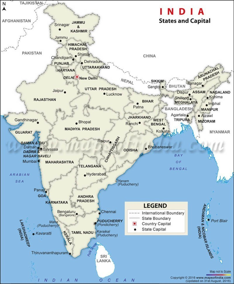 draw india map with locate a capital and state - Brainly.in