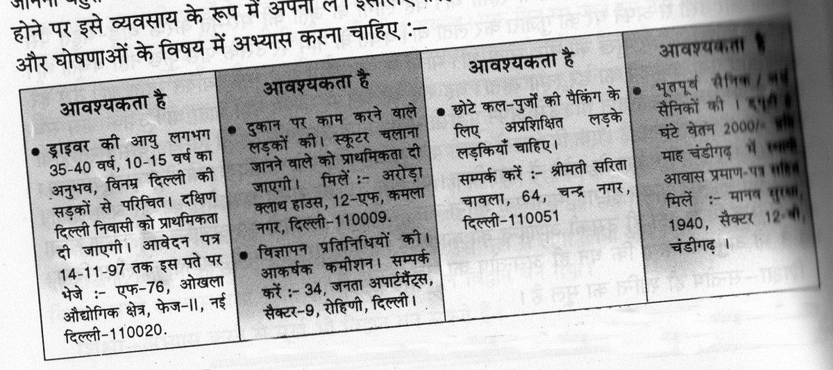 Some examples of vigyapan lekhan in hindi for Koi 5 anopcharik patra