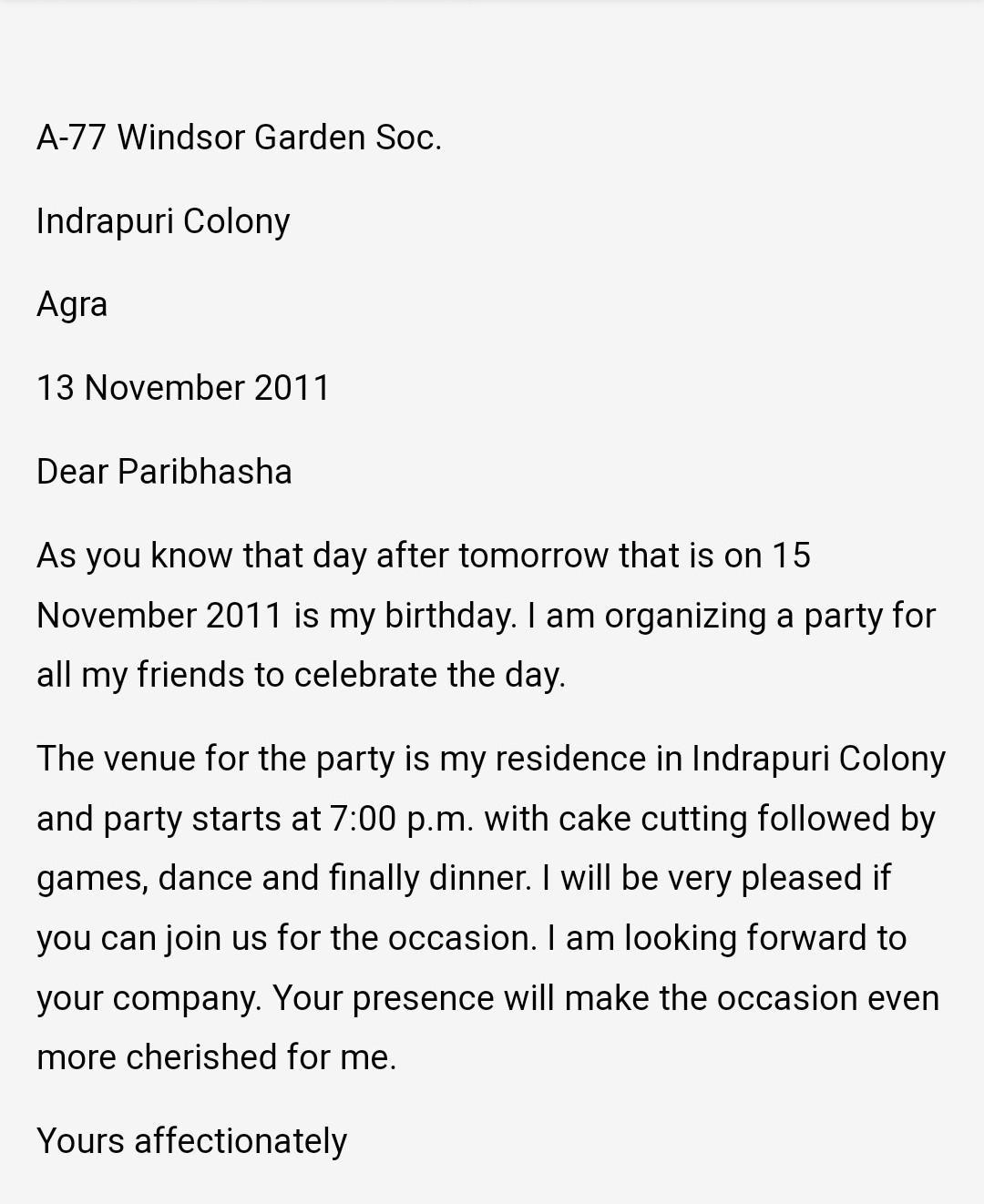 invitation letter to a friend for a party