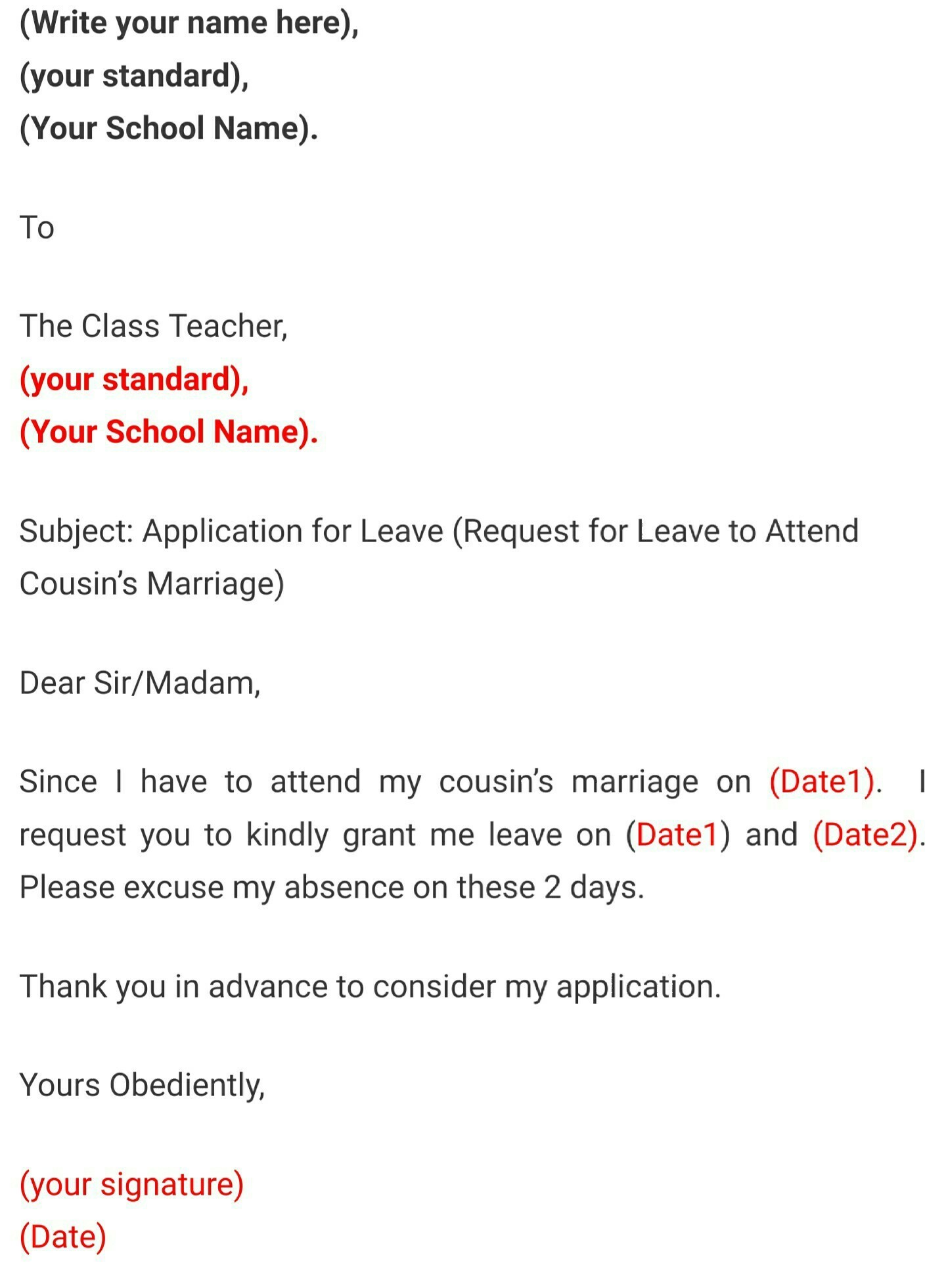 Leave Application For School For Marriage