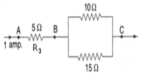 three resistors are connected as shown in the diagram