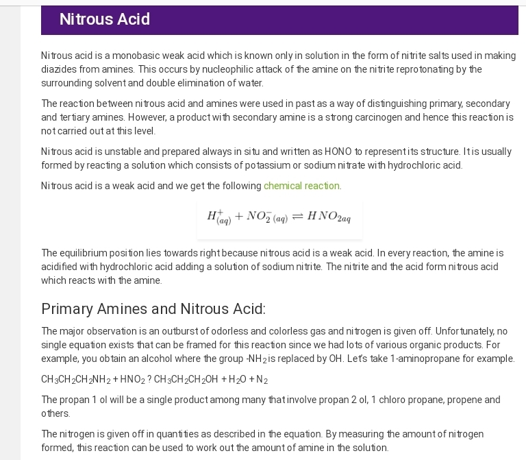 Reaction of primary and secondary nitro compounds with nitrous acid