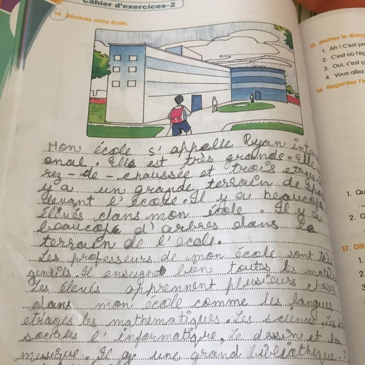 mon ecole essay in french with english translation