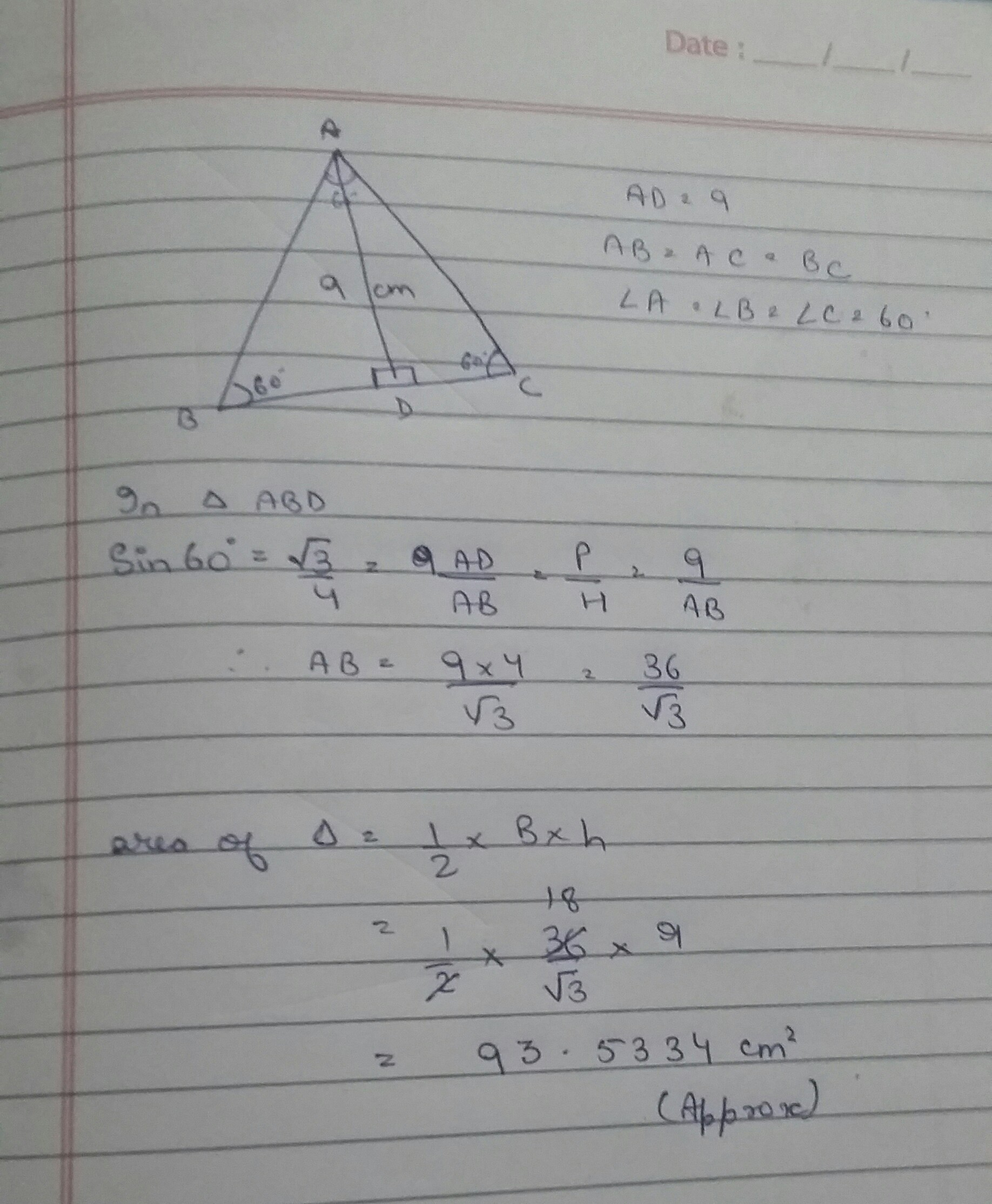 The Height Of An Equilateral Triangle Measures 9 Cm Find Its Area