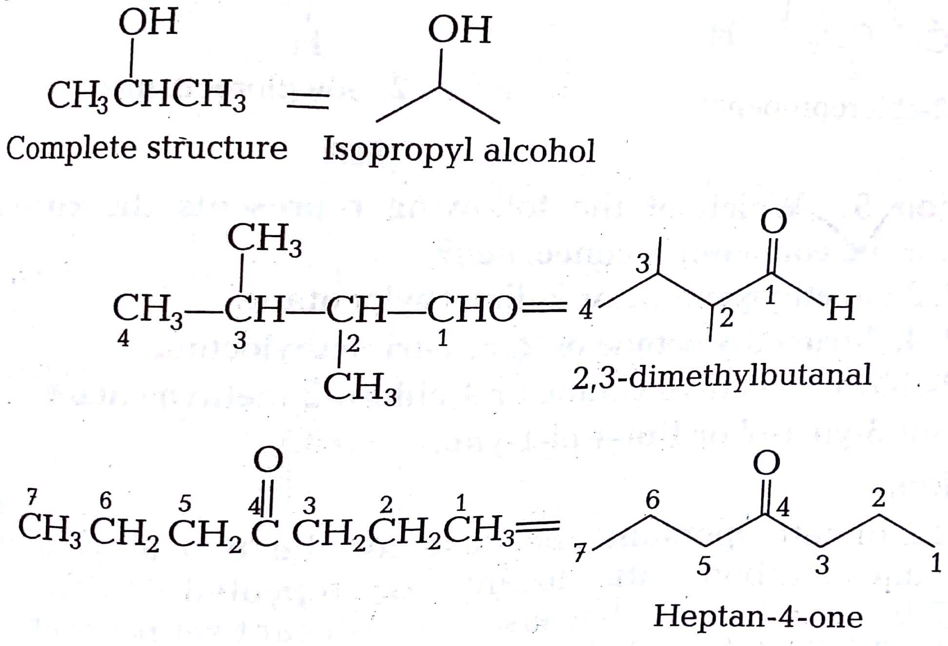 isopropyl alcohol condensed structural formula
