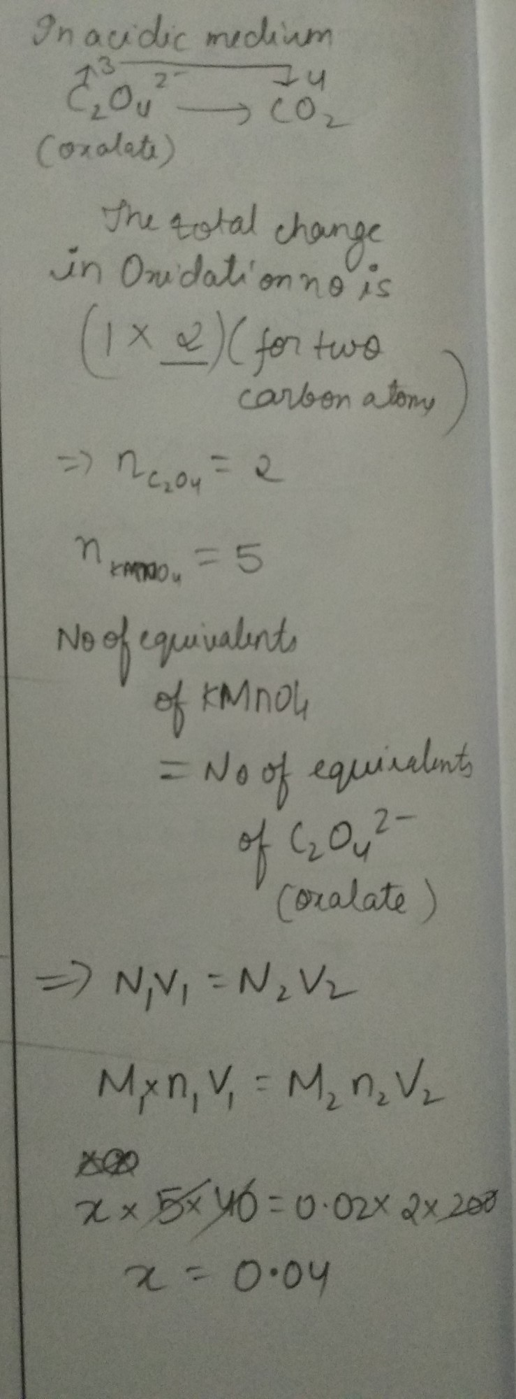40 ml of x M KMnO4 solution is required to react completely with 200