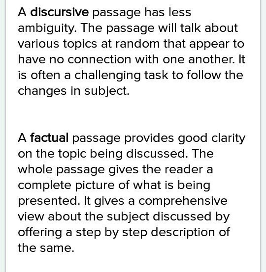 what is the difference between factual and discursive passge