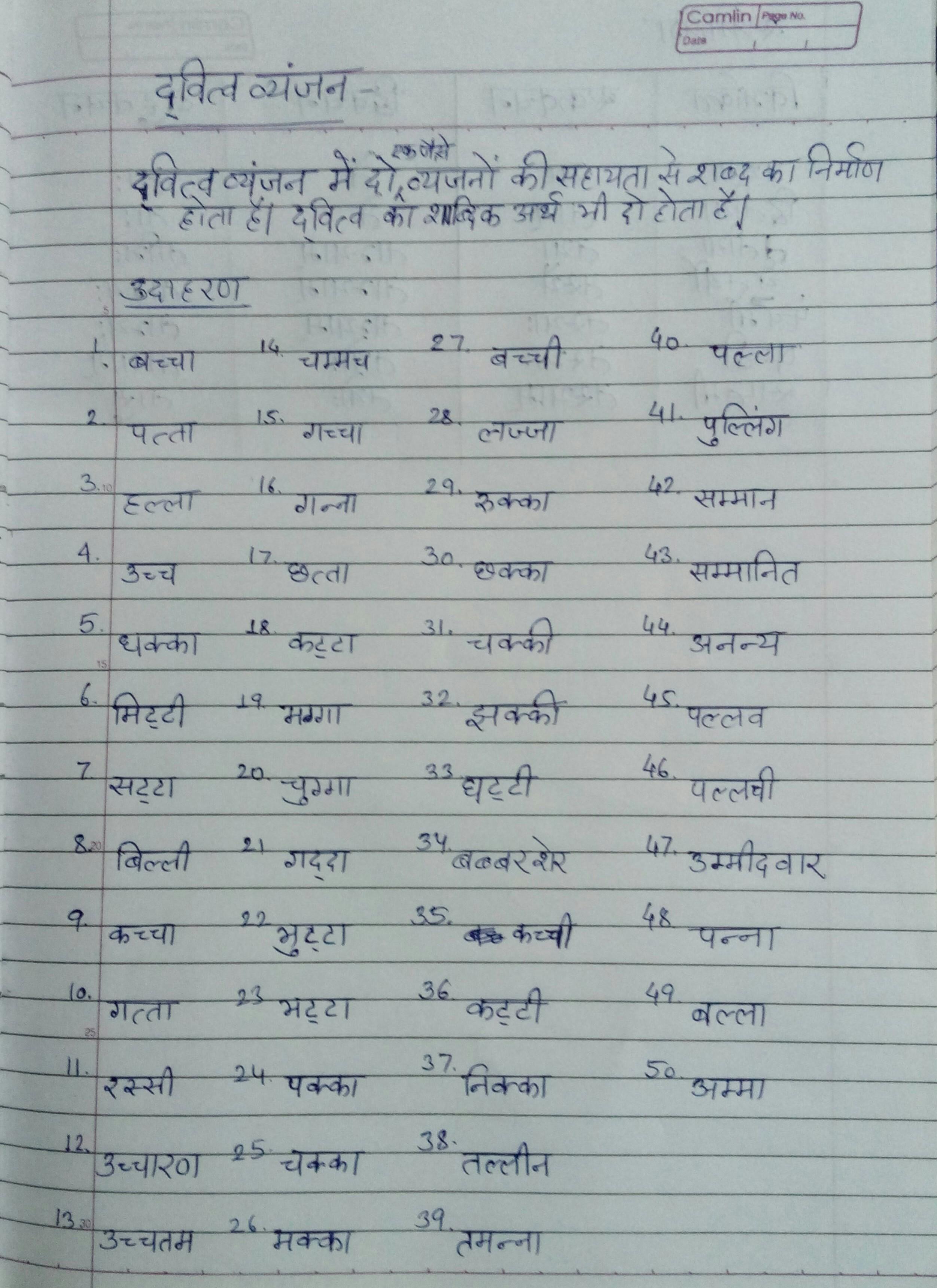 50 dvitvakshar words in hindi - Brainly in