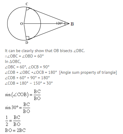 in figure two tangents ab and ac are drawn to a circle with centre rh brainly in  120 degree angle on a bolt