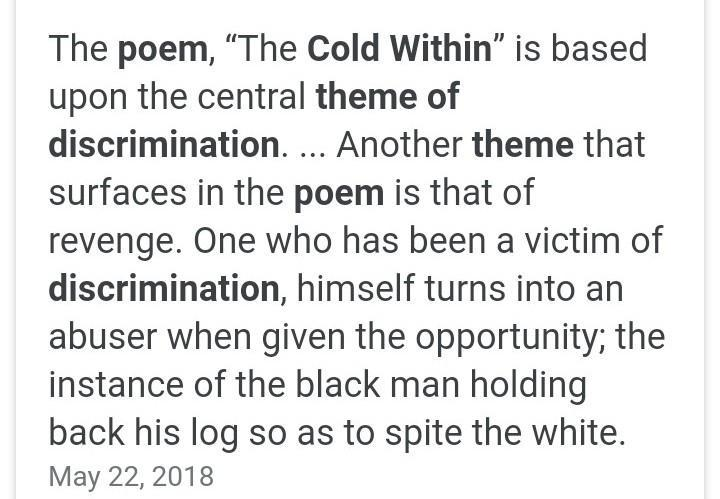 the theme of discrimination in the poem the cold within