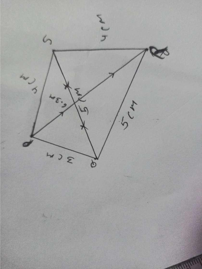 construct a quadrilateral PQRS which QR=4.5 RP=SP=6cm RS