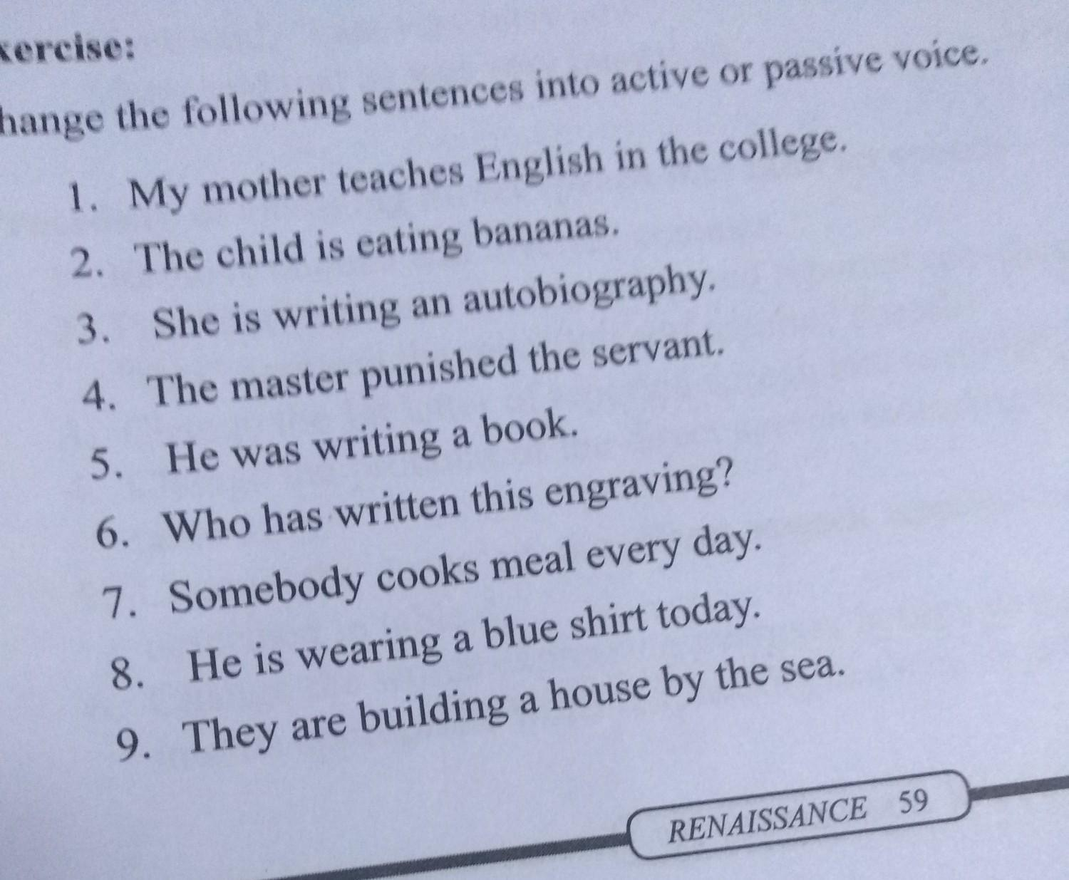 change sentence into active to passive voice - Brainly in