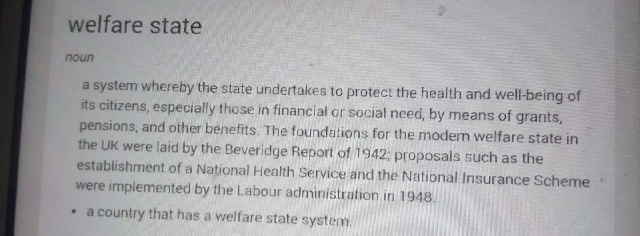 What is the meaning of welfare state? Make a comparison