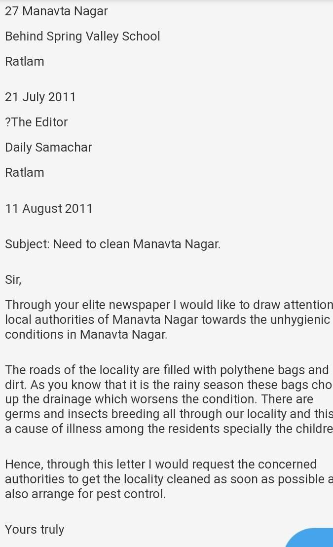 write the letter of the editor of the newspaper highlighting the