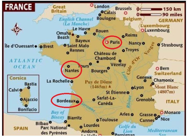 Map Of France During The French Revolution.On The Map A A Port Of France Related To Slave Trade B The Region