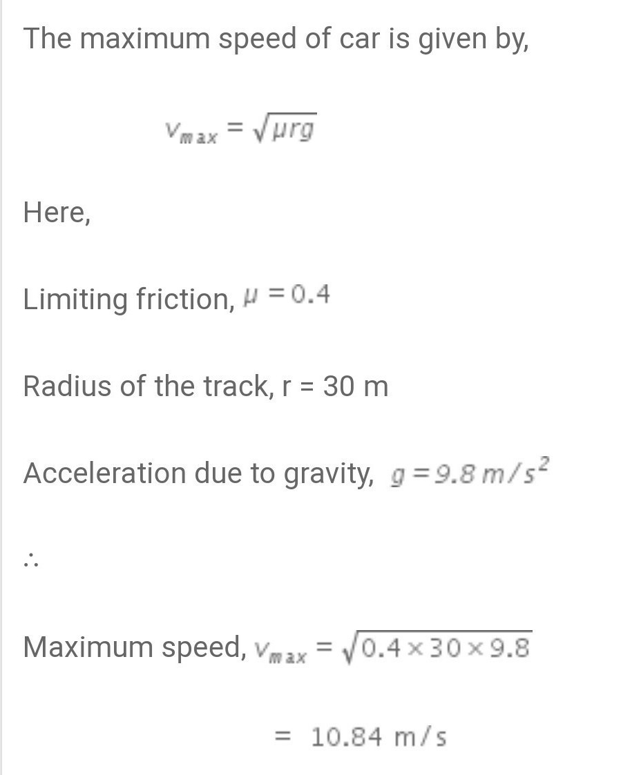 how to calculate maximum speed of a car