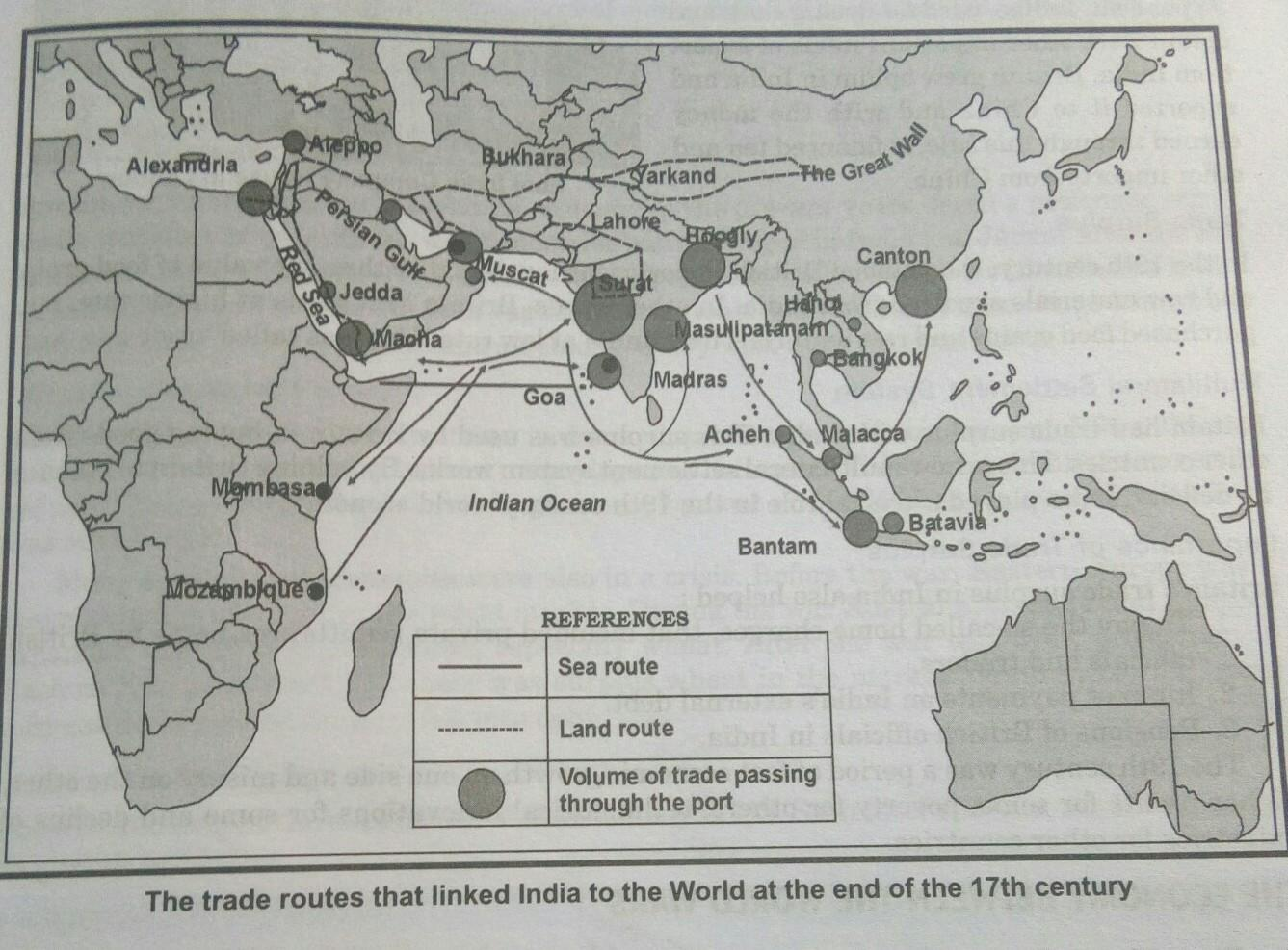 Which type of map is used to represent the trade route that ... on india china map, india trade route art, india road map, india terrain map, india travel map, india culture map, india british empire map, india africa map, india russia map,