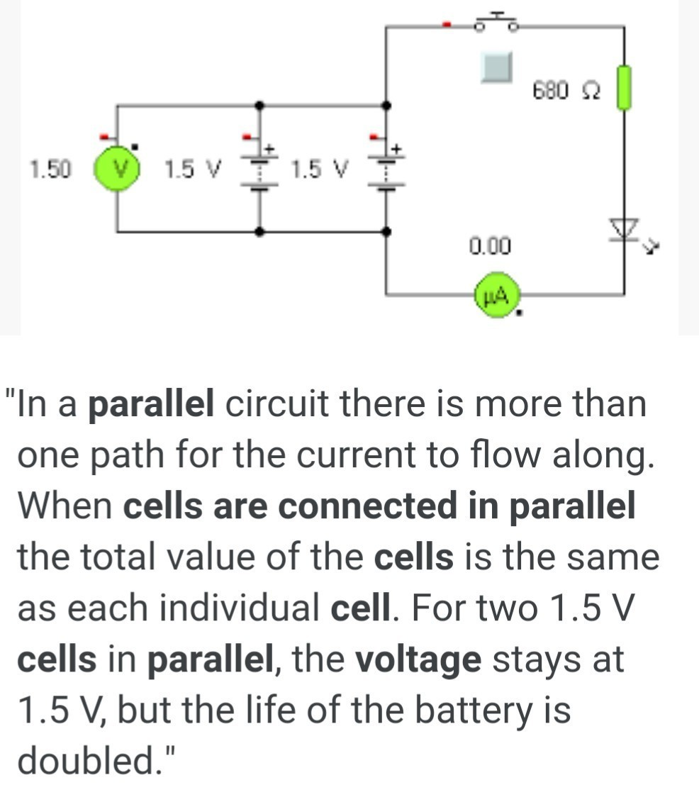 What Is Potential Difference When Cells Are Connected In Paraller Current Parallel Circuits The Total Flowing From Cell Download