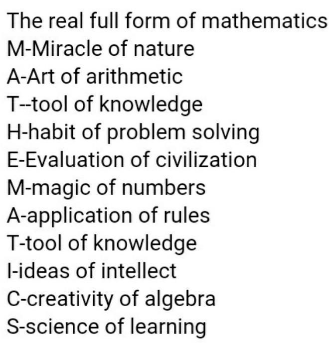 what is a full form of maths - Brainly.in