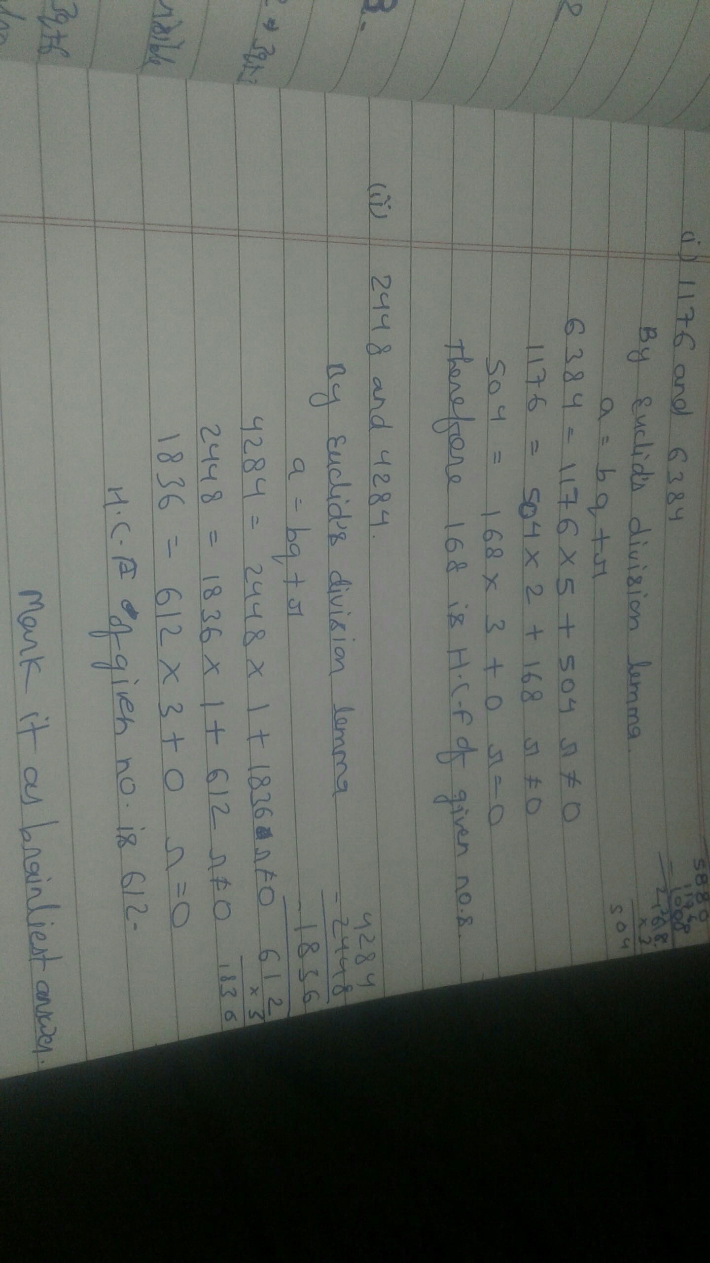Find HCF of following pairs using Euclid's division lemma (i