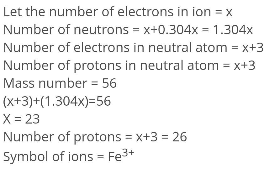 An Ion With Mass No 56 Contain 3 Units Of Positive Charge And 304