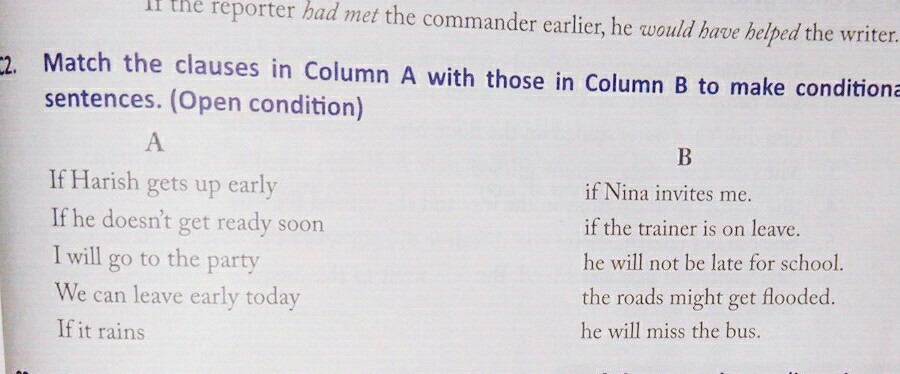 Match The Clauses In Column A With Those In Column B To Make