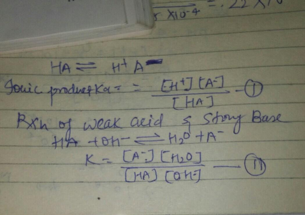 Weak acid react with strong base ionisation constant of ...