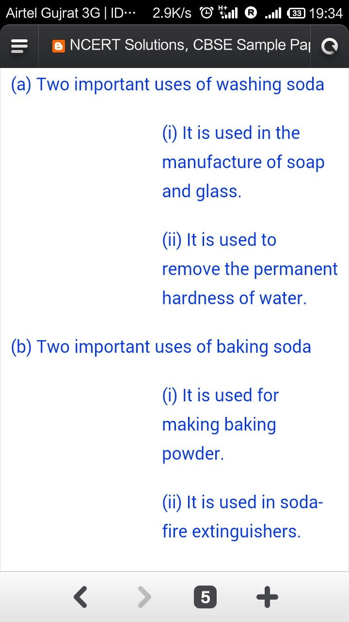 Give Two Important Uses For Each Of Washing Soda And Baking Soda