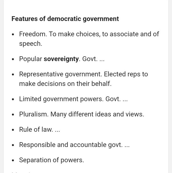 features of representative democracy