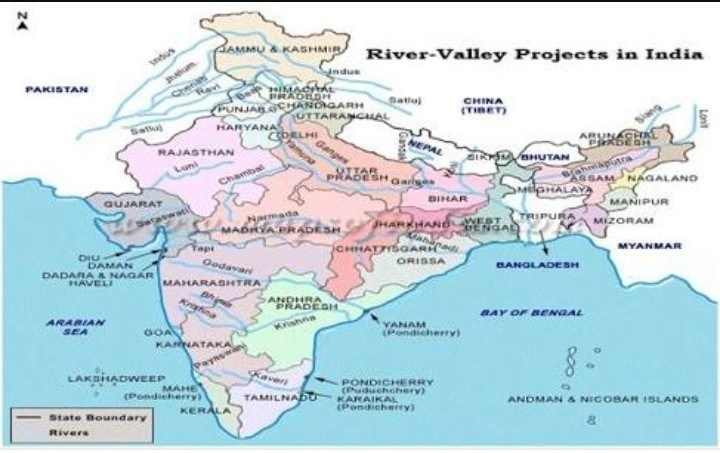 Show An Outline Map Of India Showing All Multipurpose River Valley