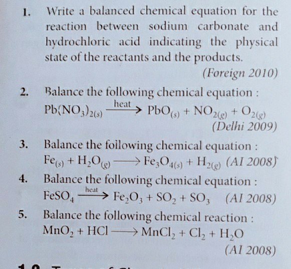 Easy Examples For Balancing Chemical Equations Brainly In