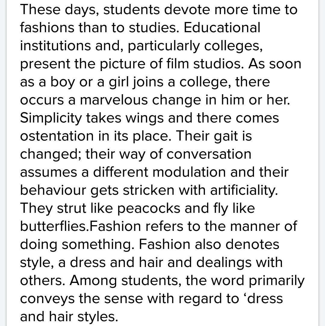 fashion among students essay in hindi
