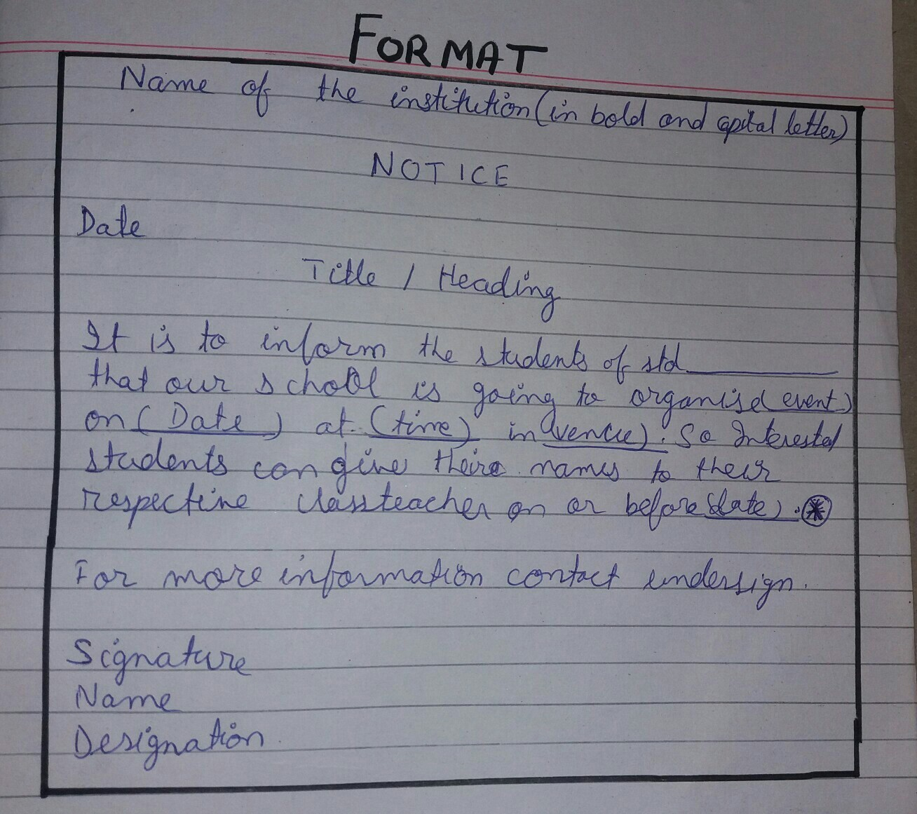 notice writing questions for class6