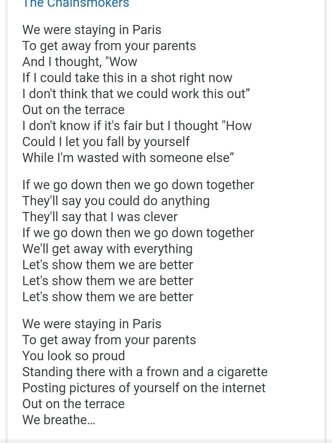 Give Me The Lyrics Of Paris Song By Chainsmokers Brainly In