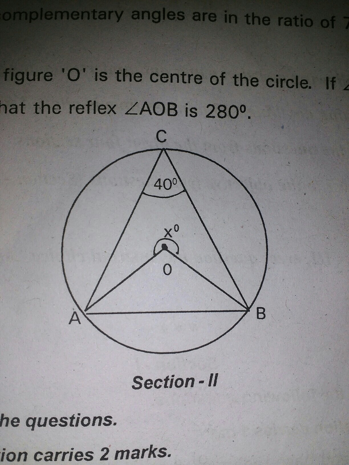 In the given figure O is the center of the circle  If angle